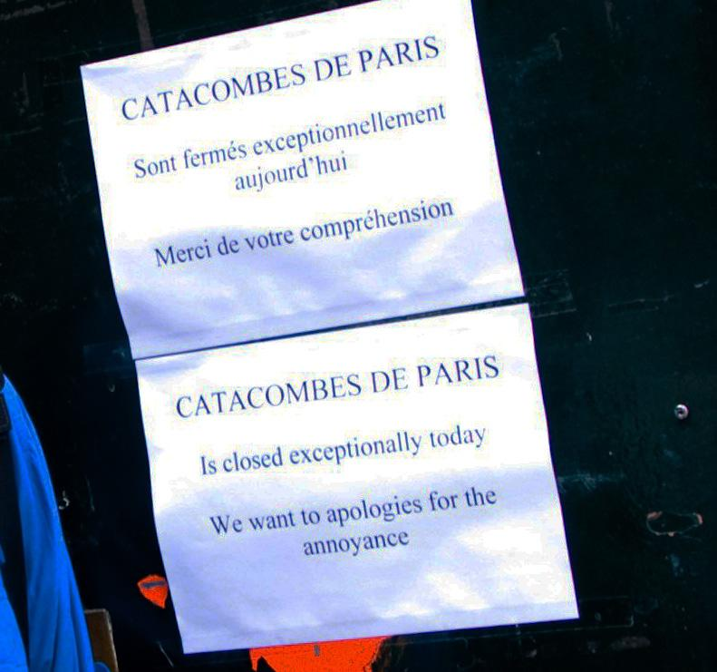 Catacombs closed